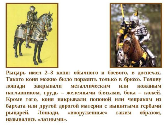 Рыцарь имел 2–3 коня: обычного и боевого, в доспехах. Такого коня можно было поразить только в брюхо. Голову лошади закрывали металлическим или кожаным наглавником, грудь – железными бляхами, бока – кожей. Кроме того, коня накрывали попоной или чепр…