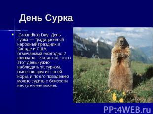 День Сурка Groundhog Day. День сурка — традиционный народный праздник в Канаде и