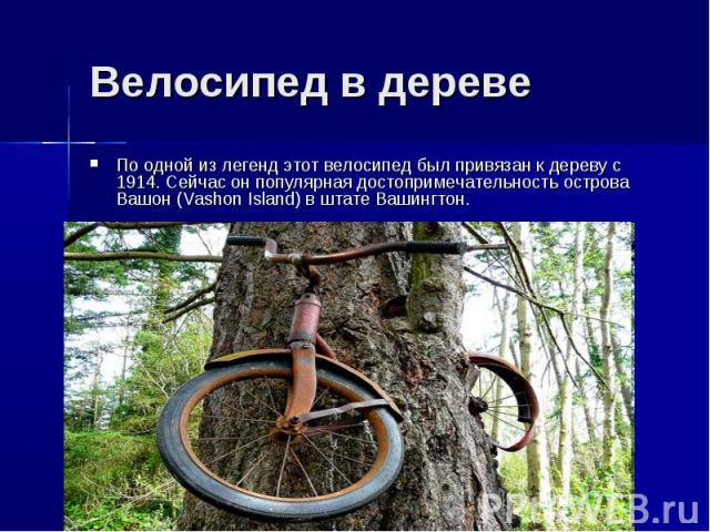 Велосипед в деревеПо одной из легенд этот велосипед был привязан к дереву с 1914. Сейчас он популярная достопримечательность острова Вашон (Vashon Island) в штате Вашингтон.