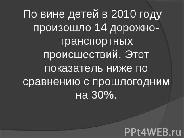 По вине детей в 2010 году произошло 14 дорожно-транспортных происшествий. Этот показатель ниже по сравнению с прошлогодним на 30%.