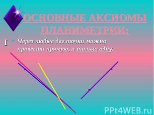 ОСНОВНЫЕ АКСИОМЫ ПЛАНИМЕТРИИ:Через любые две точки можно провести прямую, и толь