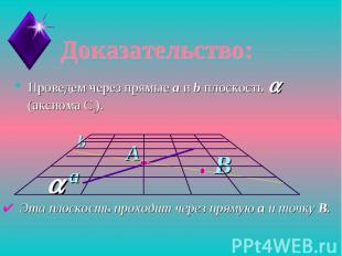 Доказательство:Проведем через прямые а и b плоскость a (аксиома С3). Эта плоскос