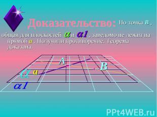 Доказательство:Но точка B ,общая для плоскостей a и a1 , заведомо не лежит на пр