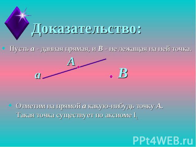 Доказательство:Пусть а - данная прямая, и В - не лежащая на ней точка.Отметим на прямой а какую-нибудь точку А. Такая точка существует по аксиоме I1.