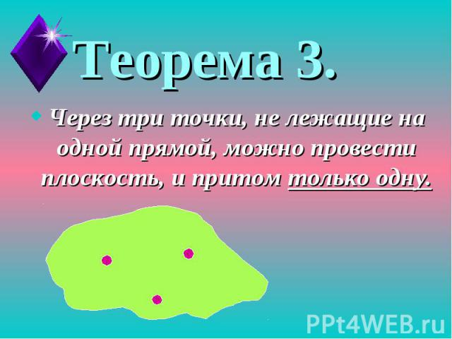 Теорема 3.Через три точки, не лежащие на одной прямой, можно провести плоскость, и притом только одну.