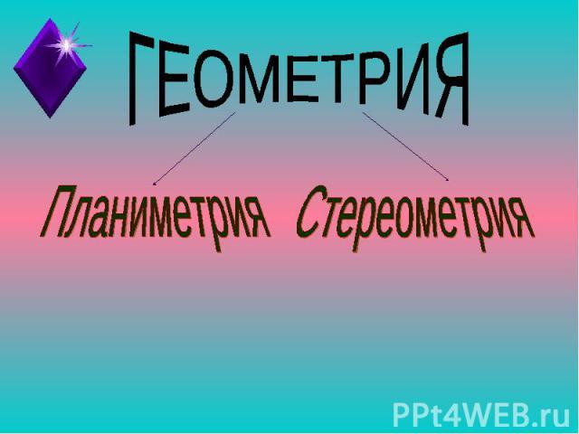 ГЕОМЕТРИЯПланиметрияСтереометрия