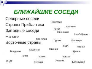 БЛИЖАЙШИЕ СОСЕДИСеверные соседи Страны ПрибалтикиЗападные соседиНа югеВосточные