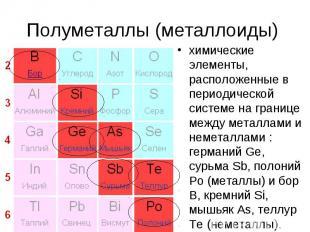 Полуметаллы (металлоиды) химические элементы, расположенные в периодической сист