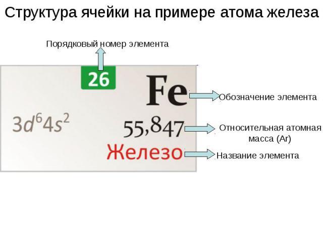 Структура ячейки на примере атома железа