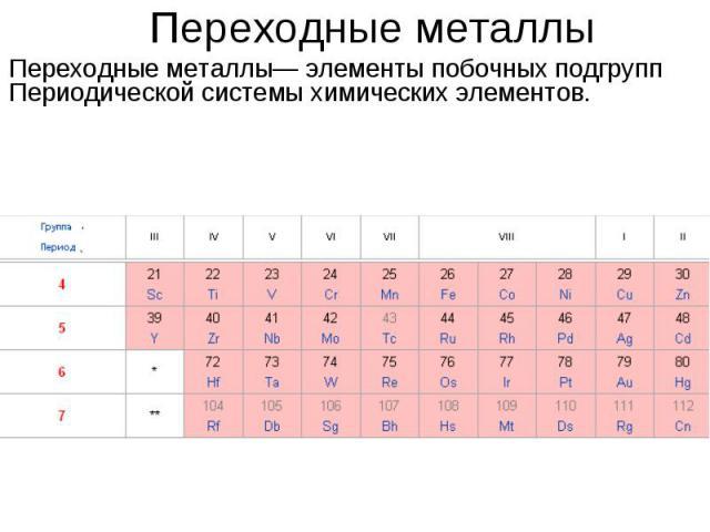 Переходные металлыПереходные металлы— элементы побочных подгрупп Периодической системы химических элементов.