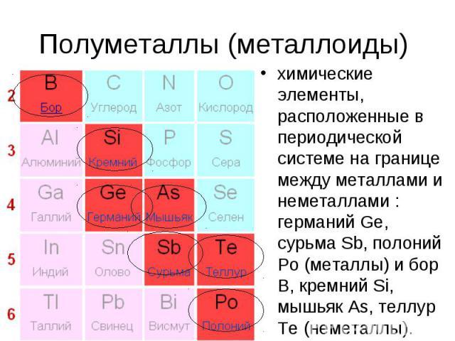 Полуметаллы (металлоиды) химические элементы, расположенные в периодической системе на границе между металлами и неметаллами : германий Ge, сурьма Sb, полоний Po (металлы) и бор В, кремний Si, мышьяк As, теллур Te (неметаллы).