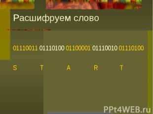 Расшифруем слово01110011 01110100 01100001 01110010 01110100S T A R T