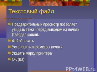 Текстовый файлПредварительный просмотр позволяет увидеть текст перед выводом на