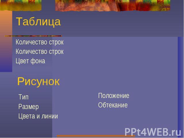 ТаблицаКоличество строкКоличество строкЦвет фонаРисунокТипРазмерЦвета и линииПоложениеОбтекание