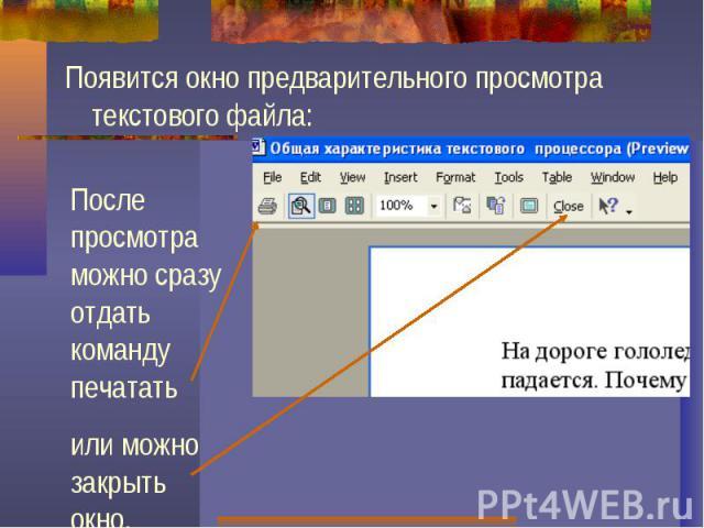 Появится окно предварительного просмотра текстового файла:После просмотра можно сразу отдать команду печататьили можно закрыть окно.