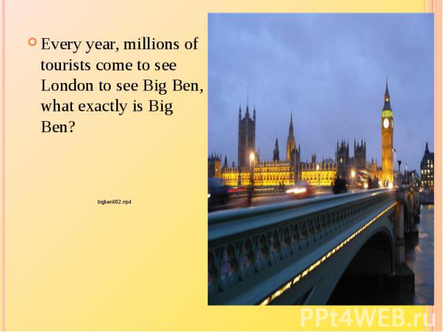 Every year, millions of tourists come to see London to see Big Ben, what exactly is Big Ben?