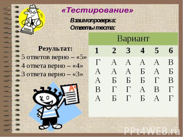 Взаимопроверка:Ответы теста:Результат:5 ответов верно – «5»4 ответа верно – «4»3 ответа верно – «3»