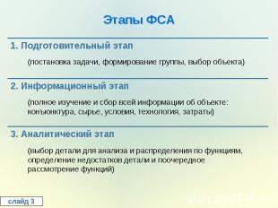 Этапы ФСА1. Подготовительный этап(постановка задачи, формирование группы, выбор