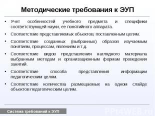 Методические требования к ЭУПУчет особенностей учебного предмета и специфики соо