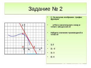 Задание № 22. На рисунке изображен график функции y=f(x) и касательная к нему в