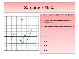 Задание № 4.4. На рисунке изображен график функции y=f(x) и касательная к нему в
