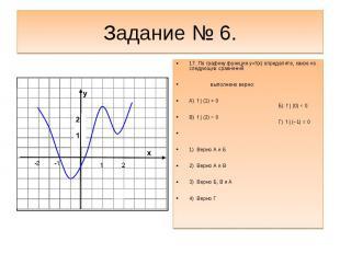 Задание № 6.17. По графику функции y=f(x) определите, какое из следующих сравнен