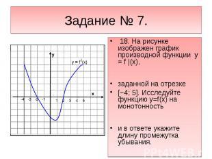 Задание № 7. 18. На рисунке изображен график производной функции y = f |(x),зада