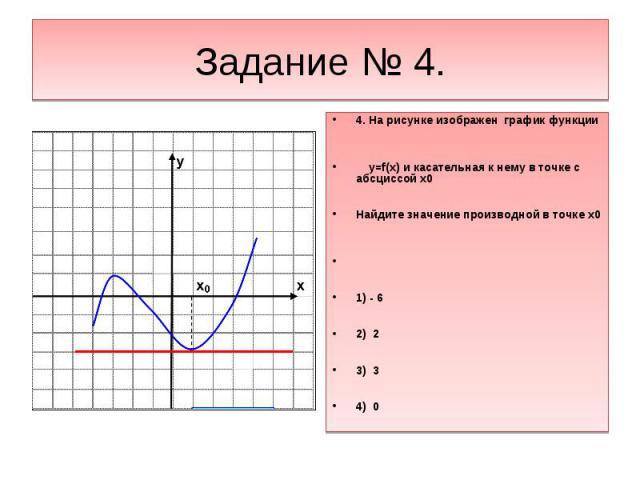 Задание № 4.4. На рисунке изображен график функции y=f(x) и касательная к нему в точке с абсциссой х0Найдите значение производной в точке х01) - 62) 23) 34) 0