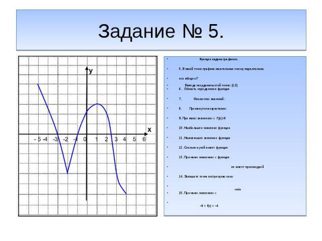 Задание № 5.Функция задана графиком.5. В какой точке графика касательная к нему параллельна оси абсцисс? Ввведи координаты зтой точки:(1;3)6. Область определения функции 7. Множество значений:8. Промежуток возрастания:9. При каких значениях х f |(x)…