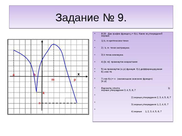 Задание № 9.В 20. Дан график функции y = f(x). Какие из утверждений верные:1) b, m критические точки 2) b, m точки экстремума3) k точка минимума4) [b; m] промежуток возрастания5) на промежутке (a ;p) функция f(x) дифференцируемая 6) xmin =b7) min f(…