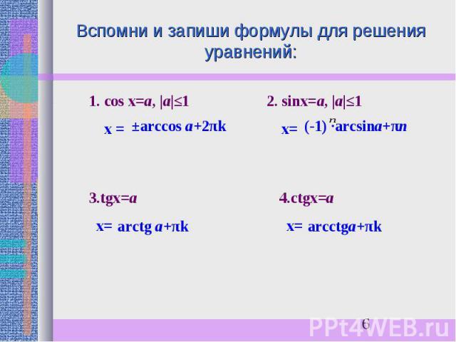 Вспомни и запиши формулы для решения уравнений: