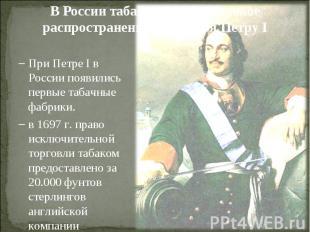 В России табак получил широкое распространение благодаря Петру IПри Петре I в Ро