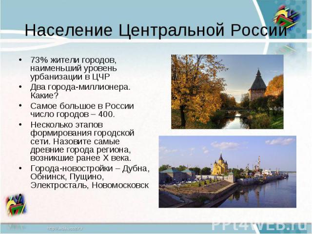 Население Центральной России73% жители городов, наименьший уровень урбанизации в ЦЧРДва города-миллионера. Какие?Самое большое в России число городов – 400.Несколько этапов формирования городской сети. Назовите самые древние города региона, возникши…