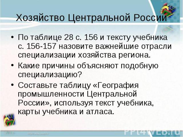 Хозяйство Центральной РоссииПо таблице 28 с. 156 и тексту учебника с. 156-157 назовите важнейшие отрасли специализации хозяйства региона.Какие причины объясняют подобную специализацию?Составьте таблицу «География промышленности Центральной России», …