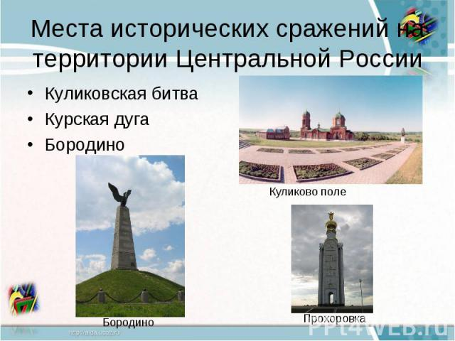 Места исторических сражений на территории Центральной РоссииКуликовская битваКурская дугаБородино
