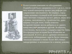 Колоссальная кампания по объединению Поднебесной была завершена в 221 г.до н.э.,