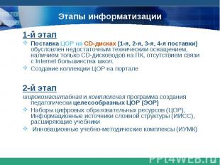 Этапы информатизации1-й этапПоставка ЦОР на CD-дисках (1-я, 2-я, 3-я, 4-я постав