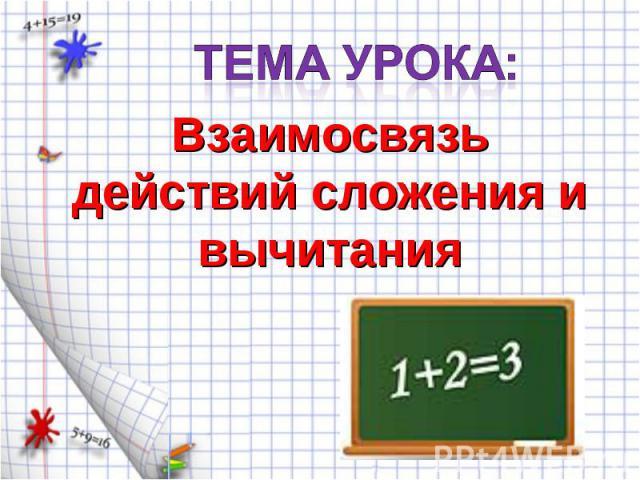 Тема урока:Взаимосвязь действий сложения и вычитания