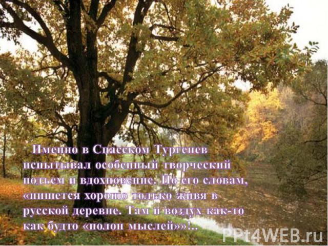 Именно в Спасском Тургенев испытывал особенный творческий подъем и вдохновение. По его словам, «пишется хорошо только живя в русской деревне. Там и воздух как-то как будто «полон мыслей»»!..