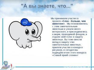 """""""А вы знаете, что..."""" Мы принимаем участие в проекте«Слон - больше, чем живот"""