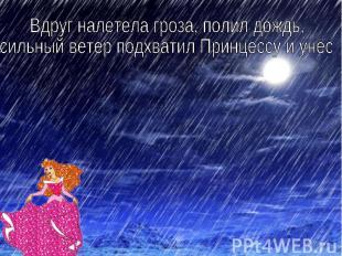 Вдруг налетела гроза, полил дождь, сильный ветер подхватил Принцессу и унёс