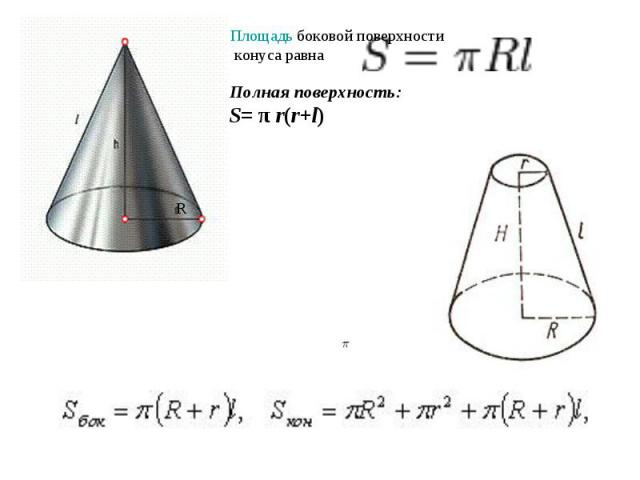 Площадь боковой поверхности конуса равна Полная поверхность: S= πr(r+l)