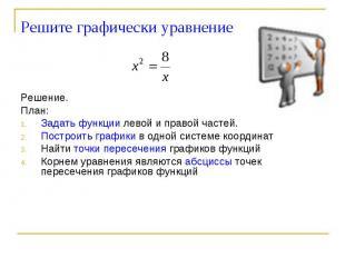 Решите графически уравнение Решение.План: Задать функции левой и правой частей.П