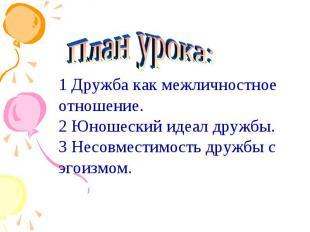 План урока:1 Дружба как межличностное отношение.2 Юношеский идеал дружбы.3 Несов