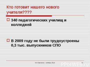 Кто готовит нашего нового учителя????340 педагогических училищ и колледжейВ 2009