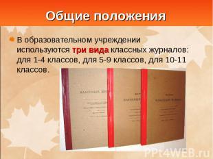 Общие положенияВ образовательном учреждении используются три вида классных журна