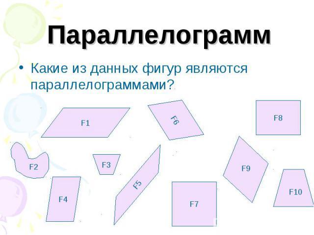 ПараллелограммКакие из данных фигур являются параллелограммами?