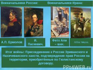Итог войны: Присоединение к России Эриванского и Нахичеванского ханств, подтверж