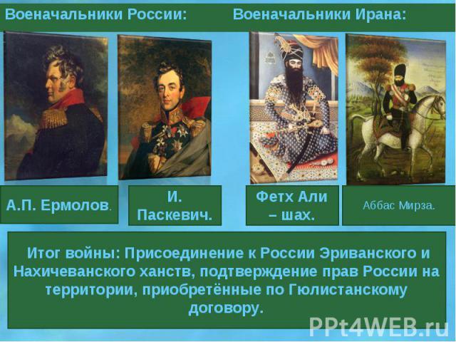 Итог войны: Присоединение к России Эриванского и Нахичеванского ханств, подтверждение прав России на территории, приобретённые по Гюлистанскому договору.