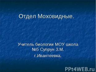 Отдел Моховидные.Учитель биологии МОУ школа №5 Супрун З.М.г.Ивантеевка.